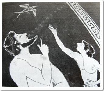 Пелика с ласточкой. Фрагмент росписи